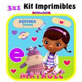 3x1 Kit Invitaciones Doctora Juguetes Fiesta Golosinas