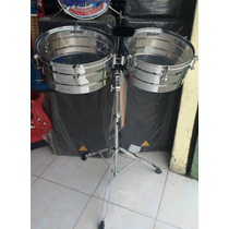 Timbales Powerbeat 14 Y 15 Cromado Con Atril Mod. Ltb-34