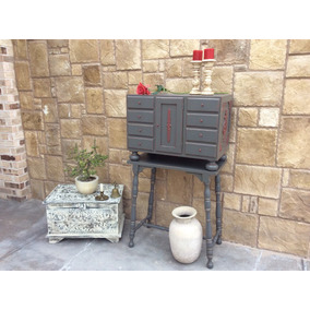 mueble artesanal mexicano tipo bargueo antiguo