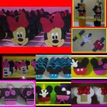 Bolsitas Golosineros En Goma Eva De Mickey Y Minnie