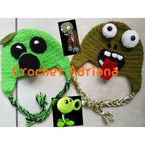 Plantas Vs Zombies Gorro Tejido Bebés Crochet