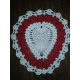 Tapete De Crochê Vermelho E Branco (em Forma De Coração) Fg