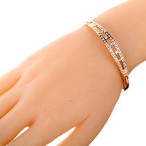 Pulseira Bracelete Feminina Luxo Banhado Ouro Rose 18k
