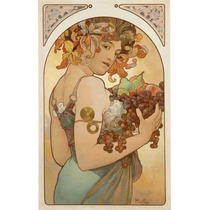 Lienzo Tela Art Deco Mucha Anuncio Frutas 1896 79 X 50 Cm