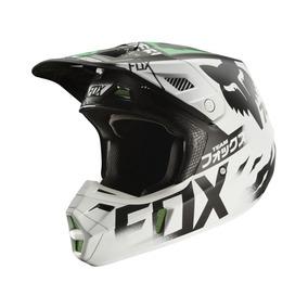 Capacete Fox V2 Union Branco/preto/verde (56)