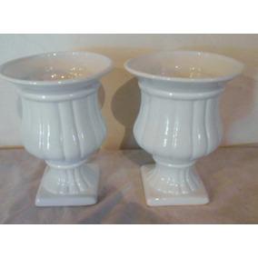 558 Par De Vaso De Louça Romano Luxo Branco