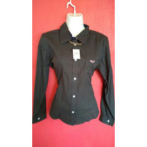 Camisa Lisa Griss Oxford Hollister