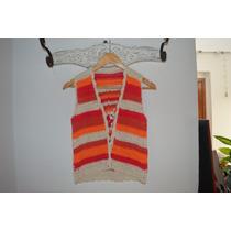 Chaleco Tejido A Mano Al Crochet. Saco Manguitas Colores