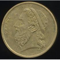Moeda Grécia Poeta Homero 50 Drachmas 1988 27 Mm
