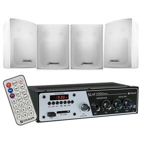 Amplificador Som Ambiente Frahm Slim1000 Usb Sd Fm 4 Caixas