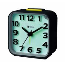 Relógio Despertador Quartz Preto Silencioso Herweg 2706