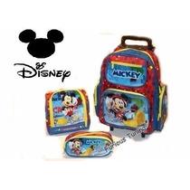 Kit Mochila Mickey Disney De Rodinhas + Lancheira + Estojo