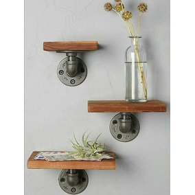 Set De 3 Repisas Vintage Pared Madera Decoracion
