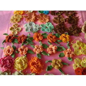 Lote De 155 Apliques Tejidos Al Crochet Para Decorar Prendas