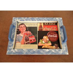 Bandeja Vintage Coca-cola Com Descanso De Copos.