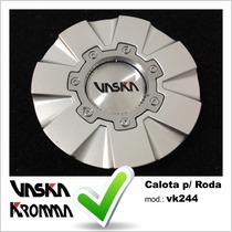 Calota Tampa Miolo Roda Original Vaska Vk244 C/ Emblema