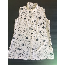 Camisa Feminino Sem Manga De Musselina Branca Tamanho 46