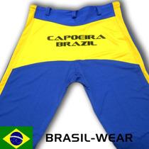 Calça De Capoeira Abada Azul E Amarelo Unisex Todos Tamanhos