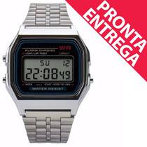 Relógio Masculino Unissex Retrô Vintage Prata Pronta Entrega