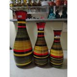 #12611 - Trio Vasos Porcelana Pintado À Mão!!!
