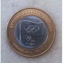 Moeda De 1 Real Olimpíadas Rio 2016 - Entrega Da Bandeira