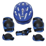 Kit Proteção 7 Itens Skate Rollers Bicicleta Patins(azul) G