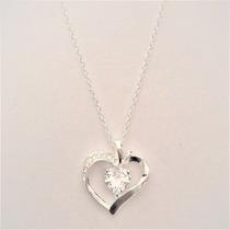 Corrente Colar Prata Lei 925 Pingente Coração Pedra Zirconia