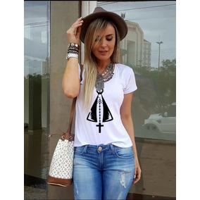 Camiseta Feminina Santa Aparecida T Shirt Religiosa Blusa
