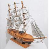 Barco Caravela 40x37cm Marfim Réplica Em Madeira Montado