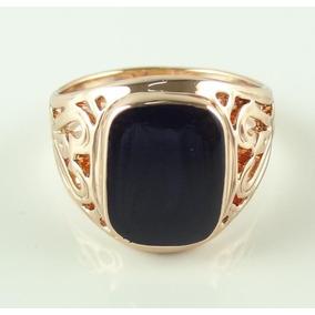Anel Masculino Aro 31 Banhado Ouro Rose Enamel Negro J1928x