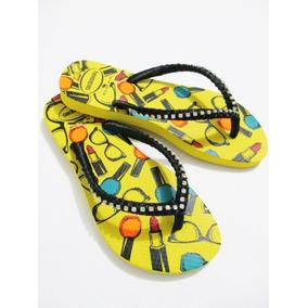 Chinelo Bordado Havaianas Slim Amarela, Strass E Cetim #048