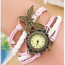 Reloj Brazalete Mujer Piel Cristal Gamuza Mayoreo Mariposa
