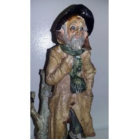 Viejo En Invierno Porcelana Cirrincione Capodimonte Firmado