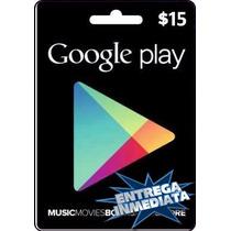 Tarjeta Gift Card Google Play $15 Usd Juegos Apps Android