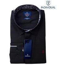 Camisa Social Individual Preta Lisa - Slim Fit
