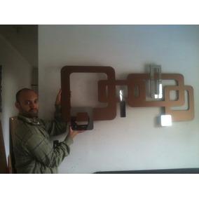 Quadro Abstrato Escultura Parede Mdf C/ Espelho 1,20x0,54 M