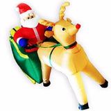 Papai Noel Com Rena Inflavel De Natal Decorativo No Treno
