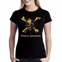 Camiseta Baby Look Feminina Camisa Piratas Do Caribe Caveira