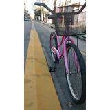 Bicicleta Playera Rosa Rod 26 Shimano Canasto Ruedas Nuevas