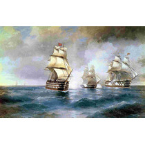 Lienzo Tela Batallas Navales Inglaterra Turquía 1892 50x80cm