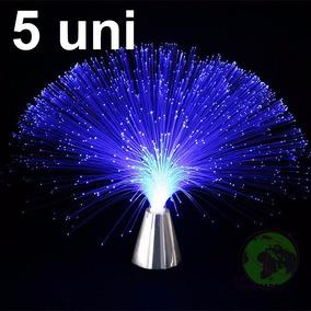 Luminaria 5 Uni Abajur De Fibra Optica Cor Prata Decoracao