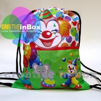 Kit 40 Mochilinhas Personalizadas Circo - Palhacinho