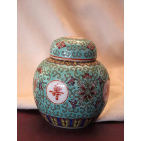Antiguo Petit Potiche Porcelana Esmaltada China (150010)