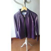 Campera Cuero Violeta Autentico Las Pepas - Excelente