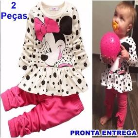 Conjunto Infantil Blusa Minnie Manga Longa + Calça Minnie