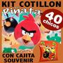 Angry Bird Kit Premium Piñata Cotillon Cajita Souvenir X 40