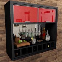 Barzinho Adega Cristaleira Vidro Reflecta Vermelho - Bar07p