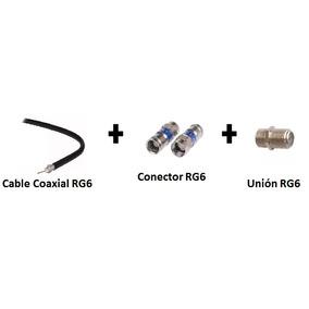 Kit Cable Coaxial Rg6 10 Mts+2 Conectores Rg6+1 Unión Rg6