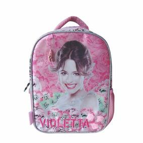 Mochila Espalda Violetta Jardin Con Licencia Disney 12 Rosa
