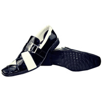 Sapato Social Masculino Em Couro Legitimo Verniz C/ Branco